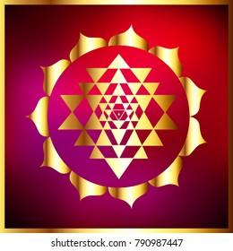 Sacred Indian Geometry Mystical Meditative Diagram Symbol - Vector Shri Yantra