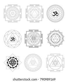 Sacred Indian Geometry Mystical Meditative Diagram Symbol - Set Vector Yantras