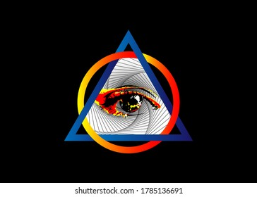 Sacred Masonic symbol. All Seeing eye, the third eye, The Eye of Providence, inside triangle pyramid. New World Order. Hand-drawn alchemy, religion, spirituality, occultism. Vector isolated or black