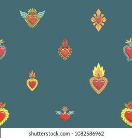 Sacred mexican heart seamless pattern
