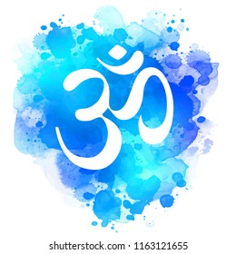 Sacred OM sign over abstract bright watercolor texture isolated on white background.