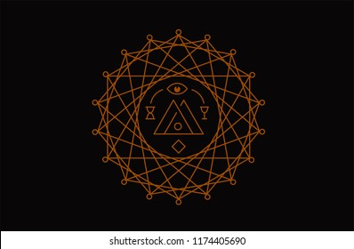 Sacred symbol. Circle geometry, alchemy, religion, philosophy, magic, mystic, meditation.