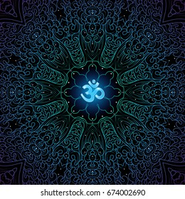 Sacred symbol Om decorated divinely pattern, mandala on black background, psychedelic trance style, vector