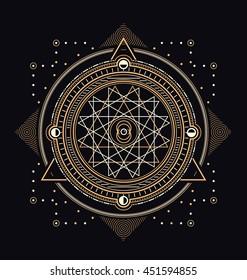 Sacred Symbols Design - Abstract Geometric Illustration - Gold and White Elements on Dark Background
