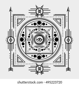 Sacred Symbols Design - Abstract Geometric Illustration - Gold and White Elements on Dark Background. Sacred geometry vector.