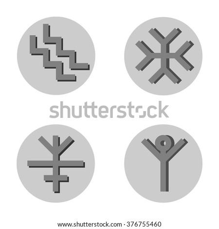 Sacred Symbolsfour Roman Signs Stock Vector Royalty Free 376755460