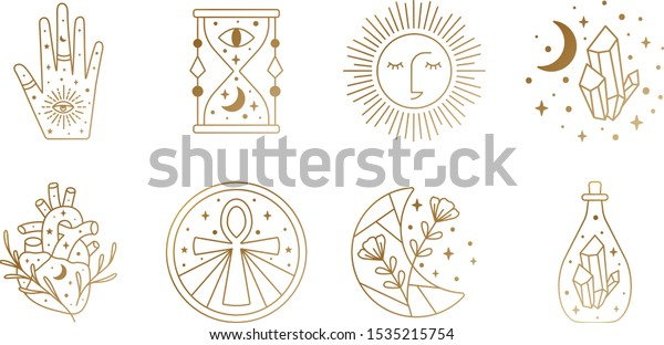 Sacred Witch and Mystical Symbols in Vector featuring hour glass, sun, heart, crystal, hand, moon, Ankh