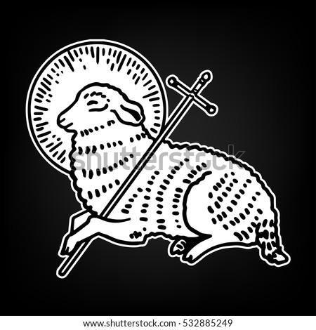 Sacrifice Lamb God Sheep Holding Cross Stock Vector Royalty Free