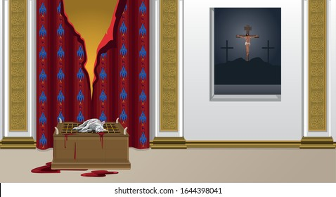 Sacrificial Lamb In Front Of Torn Veil In Temple At The Same Time As Jesus Christ Is Crucified On Cross Vector