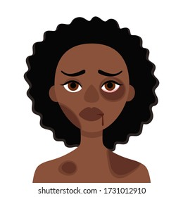 Sad african woman with bruises and wounds on a white background.Concept of domestic violence, sexual abuse in the family, bullying, social problem, aggression against women.Vector cartoon illustration