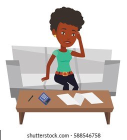 Sad african-american woman calculating home bills. Woman accounting costs and mortgage for paying home bills. Woman analyzing home bills. Vector flat design illustration isolated on white background.