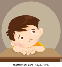 sad alone child wants to embrace.Depressed boy looking lonely.Illustration of a sad child, helpless, bullying.boy feeling guilty