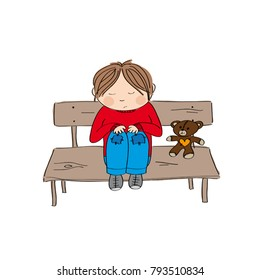 Sad and alone little boy sitting on the bench - original hand drawn illustration