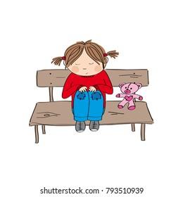 Sad and alone little girl sitting on the bench - original hand drawn illustration