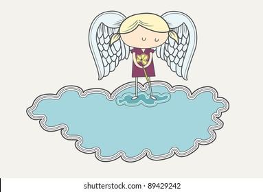 Sad angel on a cloud