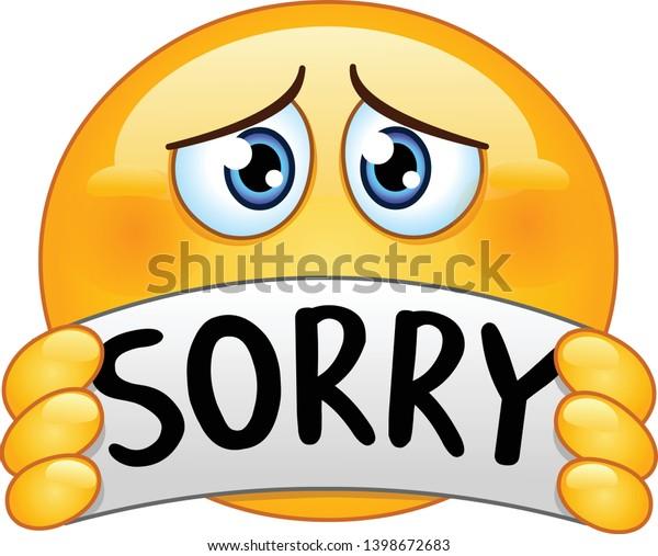 Image vectorielle de stock de Triste et excusant emoticon emoji tenant 1398672683