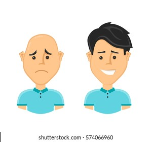sad bald man and a happy man with a beautiful luxuriant long hair. Vector design flat cartoon character illustration. Isolated on white background. baldness treatment loss,hairline,treatment concept