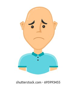 sad bald man without hair. Vector design flat cartoon character illustration. Isolated on white background. baldness concept