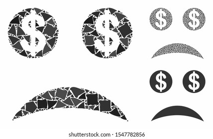 Sad bankrupt smiley composition of trembly parts in various sizes and color tones, based on sad bankrupt smiley icon. Vector bumpy parts are organized into collage.