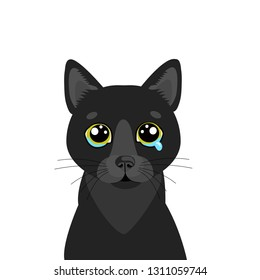 Sad Black Cat Vector Icon. Illustration Of Cute Sad Animal. Drear Crying Black Cat Vector. Crying Cat Emoji. Cute cartoon character. Pet collection. Flat design style. White background. Isolated.