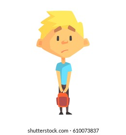 Sad Blond Boy, Primary School Kid, Elementary Class Member, Isolated Young Student Character