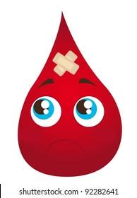 sad blood drop with adhesive bandage isolated vector illustration