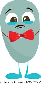Sad blue teary eyed monster with a red bow tie, vector, color drawing or illustration.