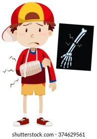 Sad boy with broken arm illustration