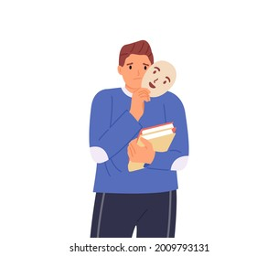 Sad boy disguising real emotions and feelings. Person disguising offense and psychological problems. Vector illustration