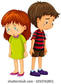 Sad boy and girl crying illustration