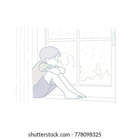 Sad boy sitting at the window watching the rain hand drawn style vector doodle design illustrations.