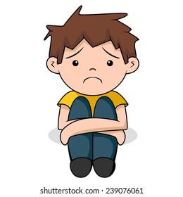 Sad boy, vector illustration, isolated white background