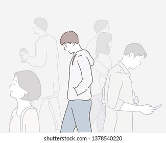 Sad boy walking on the street. Hand drawn style vector design illustrations.