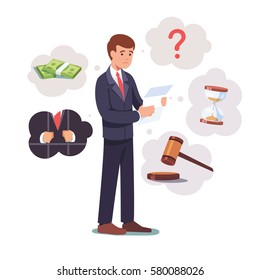 Sad broken businessman standing with legal paper or bill in hands. Afraid of sentence or prosecution due to business debts or braking law. Crisis & bankruptcy concept. Flat style vector illustration.