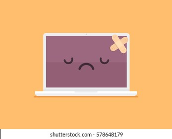 Sad broken laptop computer with bandage vector illustration in flat kawaii cute style