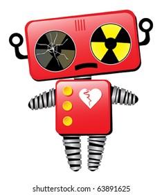 Sad Broken Toy Robot Cartoon Character
