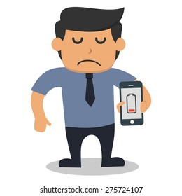 sad business man holding smart phone with low battery level