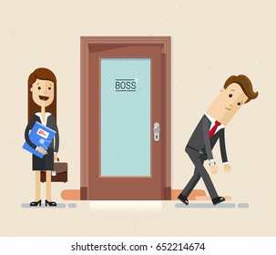 Sad business man leaves his office, he was laid off. And  woman was appointed boss instead of businessman.  Vector, flat, illustration.