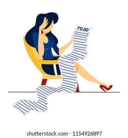 Sad business woman sitting in the chair and looking at a giant to do list. Idea of deadline and priority. Flat vector illustration