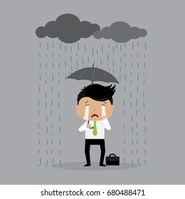 Sad businessman Character Under the Rainy Cloud. Bad Day Concept