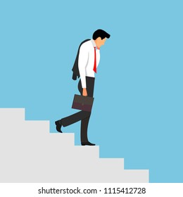Sad businessman going down stairs. A man with a briefcase is holding a jacket. The metaphor of the end of a business career.