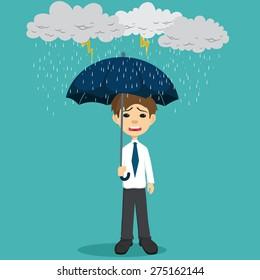Sad Businessman Holding An Umbrella In The Thunderstorm