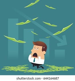 Sad businessman sitting under money rain with falling graph, Business idea concept