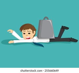Sad Businessman Under The Burden