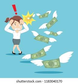 Sad businesswoman without money, illustration vector cartoon