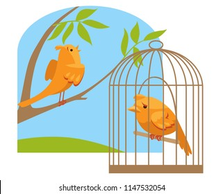sad Canary in a cage and a happy Canary sings on a branch. concept freedom and slavery. birds cartoon vector illustration