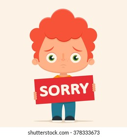 "Sad Cartoon Boy Holding ""Sorry"" Sign. Vector Illustration"