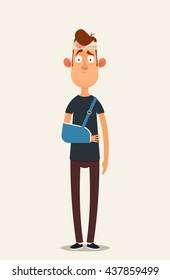 Sad Cartoon Character with Injured Head and Broken Arm. Vector Illustration