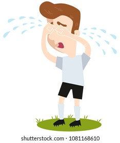 Sad cartoon football outfield player crying many tears standing on green isolated on white background, funny vector illustration