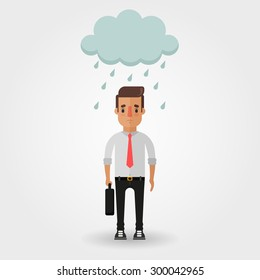 Sad Cartoon Office Worker Under the Rainy Cloud. Bad Day Concept